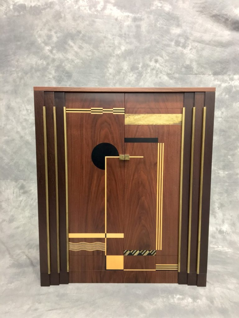 Made by hand with sawn veneer 30's cubist art deco